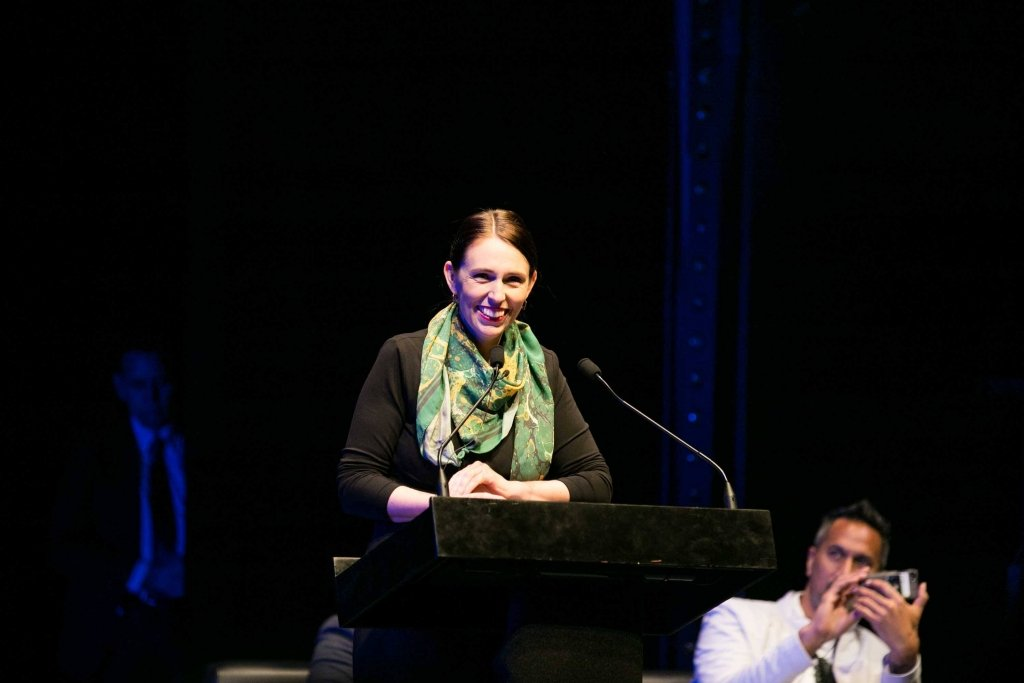 New Zealand Prime Minster Jacinda Ardern presents audience