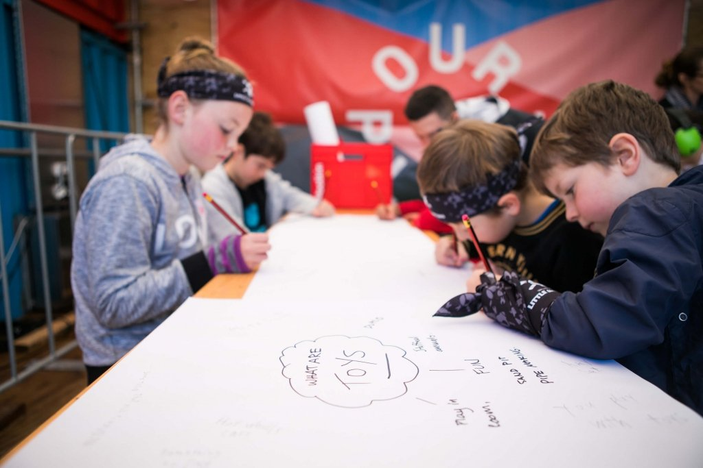 Group of kids brainstorm their perfect toy at Little Inventors Workshop